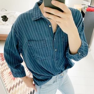 H&M blue striped button down popover shirt